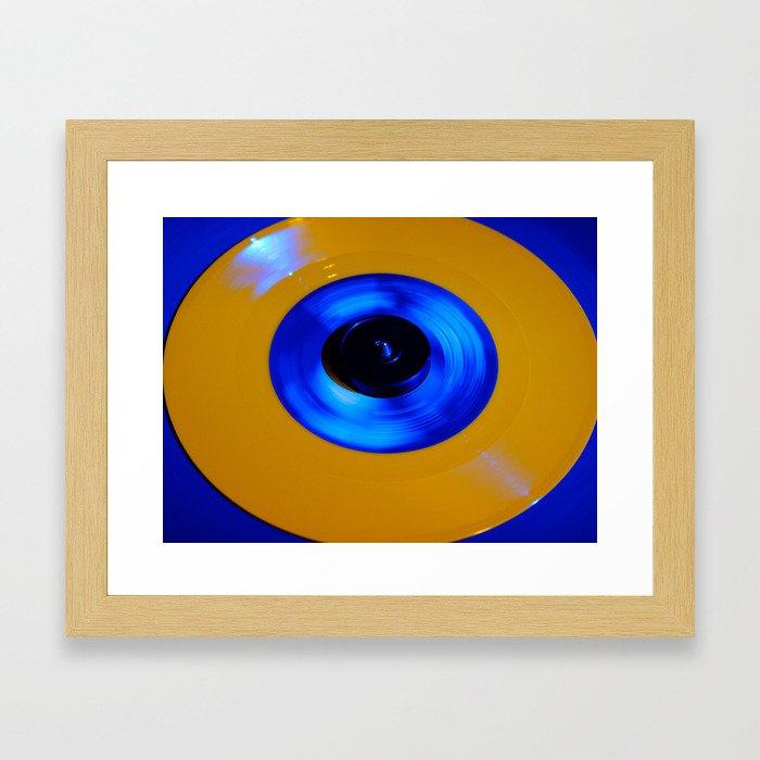 Yellow Blue Record Framed Art Print