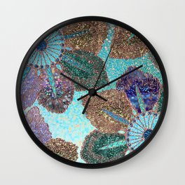 Aqua Green Brown and Blue Faux Glitter Flowers on #Society6 Wall Clock