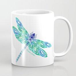 Tribal Dragonfly Blues and Greens Coffee Mug