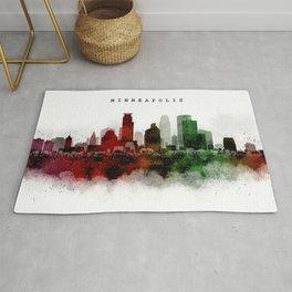 Minneapolis Watercolor Skyline Rug