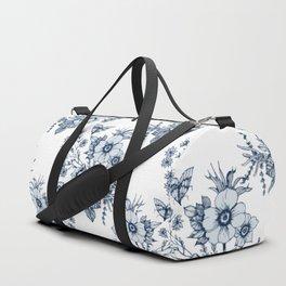 B&W Flowers / White Duffle Bag