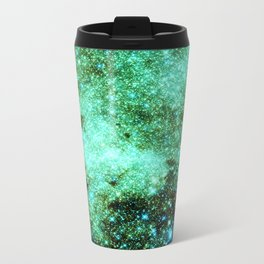 GaLAXY Sparkle Stars : Emerald Green Blue Travel Mug