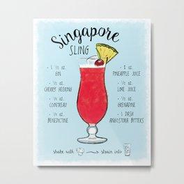 Singapore Sling Cocktail Recipe Metal Print