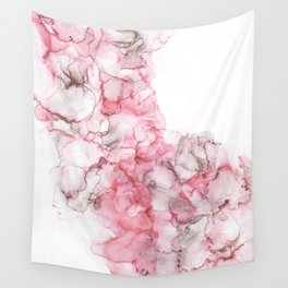 Pretty in Pink- Pink and Gold Abstract Alcohol Ink Painting Wall Tapestry