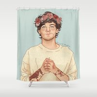 coconutwishes Shower Curtains featuring Tommo Flower crown by Coconut Wishes