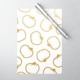 Gold and White Pumpkin Pattern Wrapping Paper
