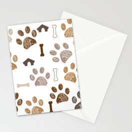 Brown colored paw print with bone and dog hut Stationery Cards