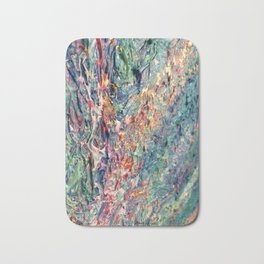 Bloom - palette knife abstract floral painting by Adriana Dziuba Bath Mat