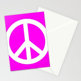 Peace (White & Magenta) Stationery Cards
