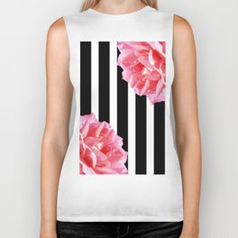 Pink roses on black and white stripes Biker Tank