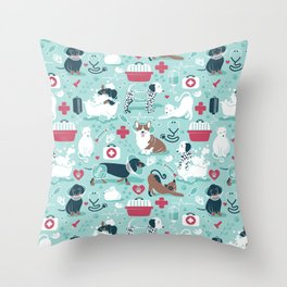Veterinary medicine, happy and healthy friends // aqua background Throw Pillow