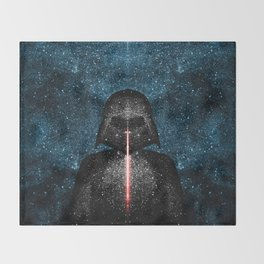 Darth Vader with Lightsaber in Galaxy Throw Blanket
