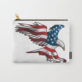Patriotic Flying American Flag Eagle Carry-All Pouch