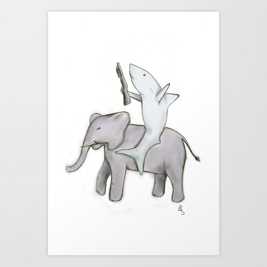 Shark with a Shotgun and the Elephant Art Print