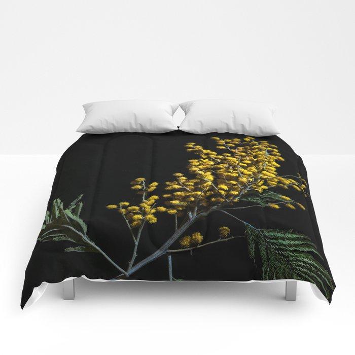 Silver Wattle Flowers Comforters