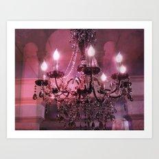 Paris Chandelier Sparkling Crystal Pink Purple Chandelier Wall Art Art Print
