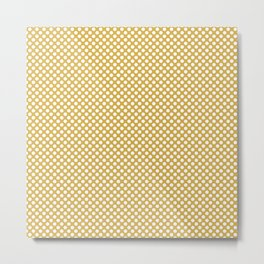 Spicy Mustard and White Polka Dots Metal Print
