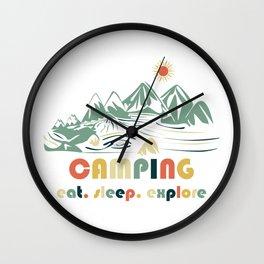 Camping. Eat. Sleep. Explore Wall Clock