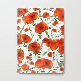Red Poppies Eucalyptus Dream Pattern #1 #floral #decor #art #society6  Metal Print