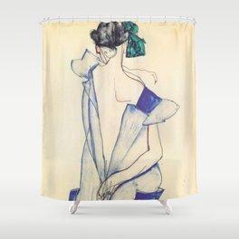 """Egon Schiele """"Rückenansicht eines Mädchens im blauen Rock (Back view of  a girl in a blue dress)"""" Shower Curtain"""
