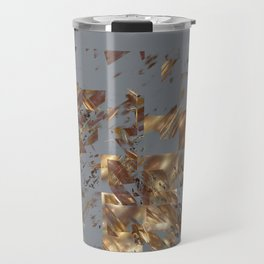 Bronze on Gray Square #abstract #society6 #decor #geometry Travel Mug