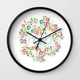 Hello flowers Wall Clock