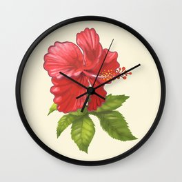 Pink Tropical Hibiscus Flower Painting Wall Clock