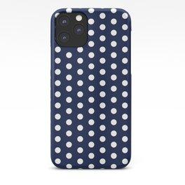 Navy Blue Polka Dots Minimal iPhone Case