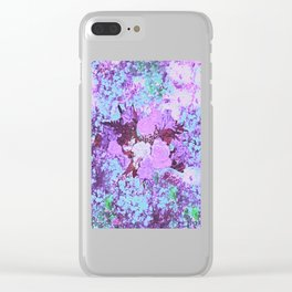 Roses Bountiful Shabby Chic in Purple and Blue Mosaic  Clear iPhone Case