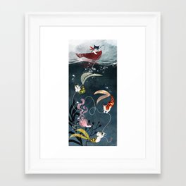 """Catfish"" - cute fantasy cat mermaids illustration Framed Art Print"
