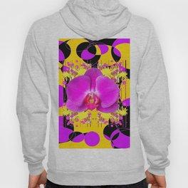 Artful Modern Purple & Gold Black Orchid Design Hoody
