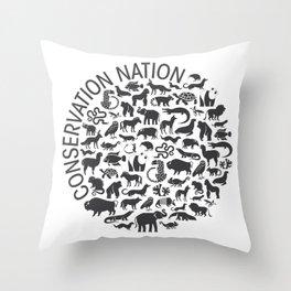 A Circle of Animals Throw Pillow