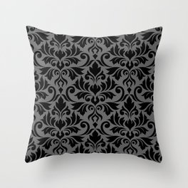 Flourish Damask Big Ptn Black on Gray Throw Pillow