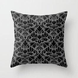Flourish Damask Big Ptn Black on Gray Throw Pillow