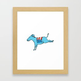 American Donkey Kicking Color Drawing Framed Art Print