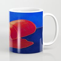 nail polish Mugs featuring Spilled Nail Polish Abstract Digital Painting  by Jackie Ludtke