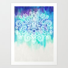 Indigo & Aqua Abstract - doodle painting Art Print