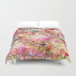 Summer Flowers | Colorful Watercolor Floral Pattern Abstract Sketch Duvet Cover