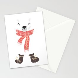 Christmas cute bear. Winter design illustration Stationery Cards