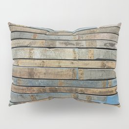 distressed wood wall - Blue and brown planks Pillow Sham