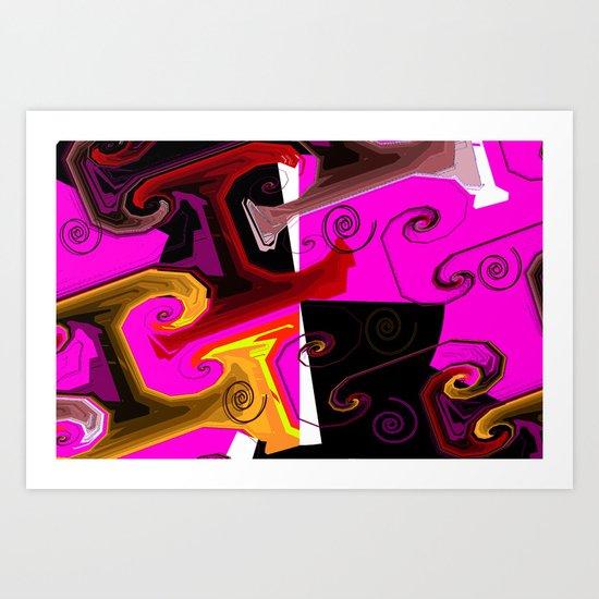 Spirals abstract pink Art Print