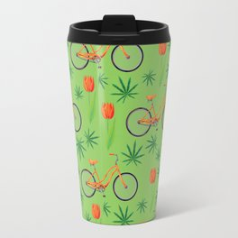 Netherlands seamless pattern with bicycle, marijana cannabis leafs and spring-flowering plant tulip Travel Mug