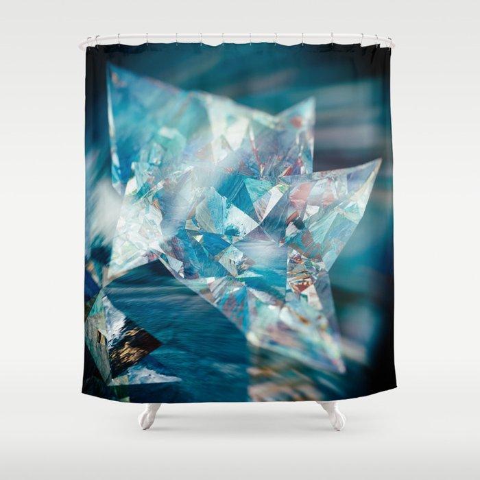 Aqua Crystal Shower Curtain
