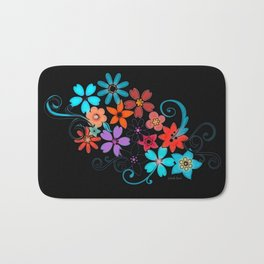 Colorful Flowers on black background Bath Mat