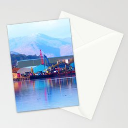 Industrial reflection at mountains edge Stationery Cards