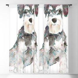 Miniature Schnauzer dog watercolors illustration Blackout Curtain