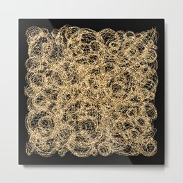 Gold Thread on Black | Abstract Brain Map 3 Metal Print