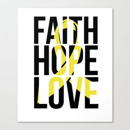 Faith Hope Love Gold Ribbon Childhood Cancer Awareness Canvas Print