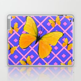 Decorative  Yellow Butterflies on Lilac & Pink Laptop & iPad Skin