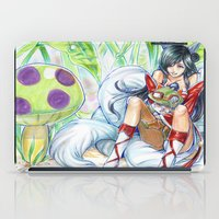 league of legends iPad Cases featuring Ahri hugging Teemo league of legends by meomeo